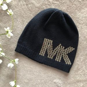 Michael Kors beanie. Black with gold detail.